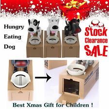 Puppy Hungry Eating Dog Coin Bank Money Saving Box Piggy Bank Kids Gifts OZ