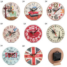 Wooden Wall Table Clock Vintage Rustic Shabby Chic Home Decoration Desk Clocks