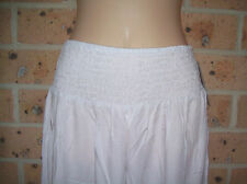 LADIES GO GIRL ROUCHED RAYON TIE SHORTS WHITE SIZES S/M & L/XL