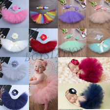 Cute Newborn Baby Girls Flower Headband Tops Tutu Tulle Skirt Photo Prop Costume