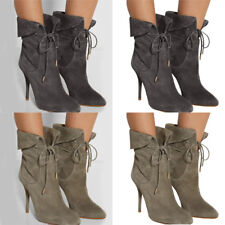 Womens Pointed Toe Lace Up Suede Ankle Boots Nightclub Stiletto High Heels Shoes