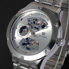 New Silver Skeleton Analog Mens Automatic Mechanical Wrist Steel Band Watch CN98