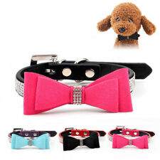 Dog Collar with Bow Tie Bow Knot Sparkling Adjustable Rhinestone Pet Embellished