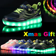 Xmas Gift Boys Girls LED Light Up Shoes USB Charge Kids Casual Luminous Sneakers