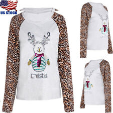 Womens Leopard Print Long Sleeve T Shirt Casual Tops Blouse Pullover Sweatshirts