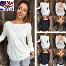 Womens Lace Backless Long Sleeve T-Shirt Bandage Pullover Jumper Blouse Tops USA