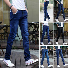 Men's Slim Fit Casual Jeans Straight Washed Denim Long Pants Pencil Trousers