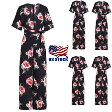 US Women's Floral Short Sleeve V Neck Long Loose Belted Casual Jumpsuits Rompers