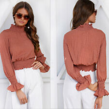 Womens High Neck Long Sleeve Pleated Tank Shirts Casual OL Office Blouse Top Tee