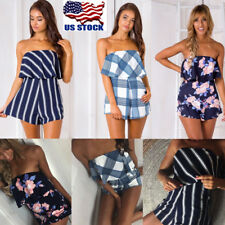 Womens Floral Mini Playsuit Jumpsuit Rompers Summer Beach Casual Shorts Dress US