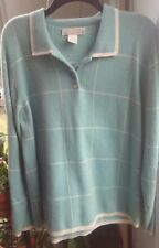 100% CASHMERE SWEATER mother of pearl buttons XL pullover v-neck LIGHT GREEN