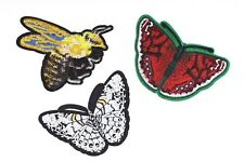 Butterfly & Bee Embroidered Patches Sew On Iron On Patch T-shirt Appliques 2pcs