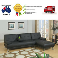Stylish Black Manhattan Adjustable Leather Sofa Bed with Chaise