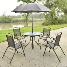 Patio Garden Set Furniture 4 Folding Chairs Table with Umbrella Gray 6 PCS