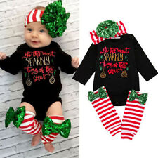 Baby Toddler Girl Christmas Romper Bodysuit+Leg Warmers+Headband Clothes Outfits
