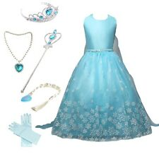 Frozen Snow Queen Party Dress Costume Princess Cosplay Dress Up with Accessories