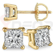 Princess Solitaire Simulated Diamond Yellow Gold Finish Screw Back Stud Earrings