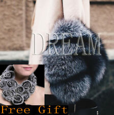 Luxurious! Denmark Genuine Real Silver Fox Pelt Fur Scarf/Cape/Wrap Fashion