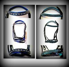 SUPER BLING! Accented Brow band & Nose band Black English Bridle PONY Blue /Teal