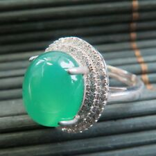 New Solid 925 Sterling Silver W/ Natural Green Chalcedony Ring Size 6-8