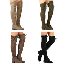 WOMENS LADIES LOW HEEL THIGH HIGH OVER THE KNEE STRETCH RIDING BOOTS SIZE 4 - 9