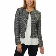 Anne Klein Womens Tweed Jacket Black Gray Grey Front Zip