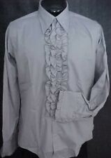VINTAGE RUFFLED TUXEDO TUX SHIRT RETRO GRAY GREY &  BLACK MADE IN USA NEW NOS