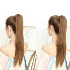 Women False Pony Tail Long Straight Magic Paste Clip In Hair Extension Hairpiece