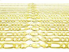 """14K Yellow Gold SOLID 1MM-12MM Italy Figaro Chain Link Necklace Bracelet 7""""- 30"""""""