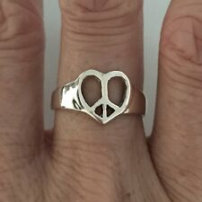 Sterling Silver Heart Peace Sign Ring, Silver Rings, Rings