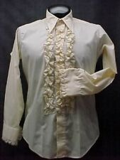 VINTAGE RUFFLED TUXEDO TUX SHIRT RETRO LIGHT TAN WITH BLACK TRIM MADE IN USA
