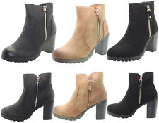 Ladies Faux Suede Leather Ankle Boots Block High Heel Womens Chelsea Shoes