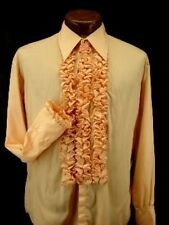 VINTAGE RUFFLED TUXEDO TUX SHIRT RETRO ORANGE MADE IN USA MANY SIZES AVAILABLE