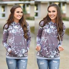 Autumn Womens Floral Long Sleeve Hoodies Pullover Sweater Sweatshirt Jumper Tops