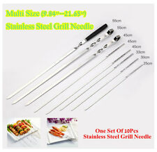 """10pcs Stainless Steel BBQ Skewers Kabob Stick Grill Barbecue Needle 9.84""""-21.65"""""""