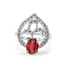 Sterling Silver Star Shaped Ring with Red Garnet Natural Gemstone Oval Cut