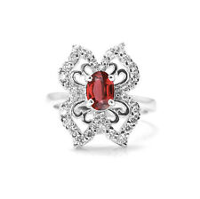 925 Sterling Silver Ring with Oval Cut Red Garnet Natural Gemstone Handmade