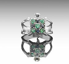 925 Sterling Silver Ring with Round Emerald & Blue Sapphire Natural Gemstone