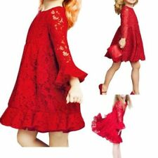 Lace Girls Princess Bridesmaid Wedding Christmas Party Flower Xmas Dress Gown