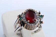 Turkish Reversible Oval Emerald Ruby Jade Topaz 925 Sterling Silver Ring