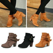 Womens Faux Suede Ankle Boots Buckle Ladies Winter Chunky Mid Heel Shoes Size