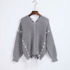 Women New Casual Criss Cross Lace Up Long Sleeve Knitting Pullover Sweater