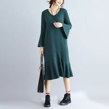 Women Dark Green Color Cotton Fabric Long Sleeve V-neck Loose Dress Plus Size