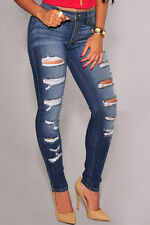 Women Blue Denim Destroyed Whisker Jeans Wash Skinny Slim Pants Trousers Jeans