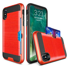 For iPhone X 8 7 6 Silk Card Hybrid Anti-knock Silicone Hard PC Armor Cover Case