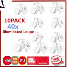 10PCS 40X 25mm POWER JEWELER LOUPE LED LOOP MAGNIFIER MAGNIFING Glass LIGHTED HA