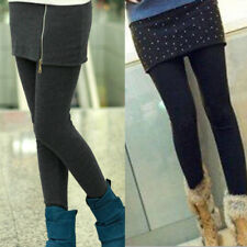 Women Winter Thick Warm Fleece Lined Stretchy Skinny Leggings Pants W/ Skirt New