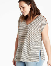 Lucky Brand Plus Linen Stripe Top
