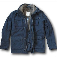 NWT Hollister by Abercrombie&Fitch Cotton Twill Jacket Sherpa Fur Lined Navy M