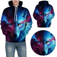 Mens Pullover 3D Wolf Print Hooded Winter Casual Coats Sweatshirt Tops Outwear